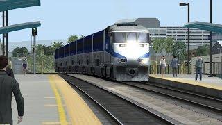 TS2015 HD: Amtrak California Pacific Surfliner Train to San Diego Santa Fe Depot w/ EMD F59PHI 460