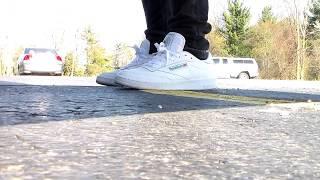 Reebok Club C 85 white/green on Feet