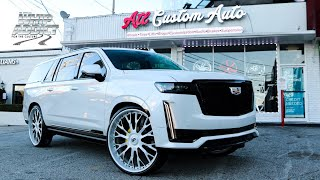 WhipAddict: EXCLUSIVE; $120k 2021 Cadillac Escalade ESV Platinum on Pearl White 30s! ATL Custom Auto