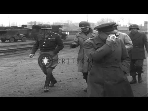 General Dwight Eisenhower visits 3rd Army Division Command Post near Nancy, Franc...HD Stock Footage