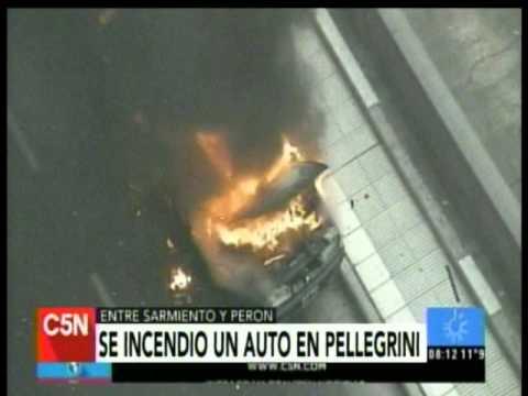 C5N - Transito: Se incendio un auto en el Microcentro