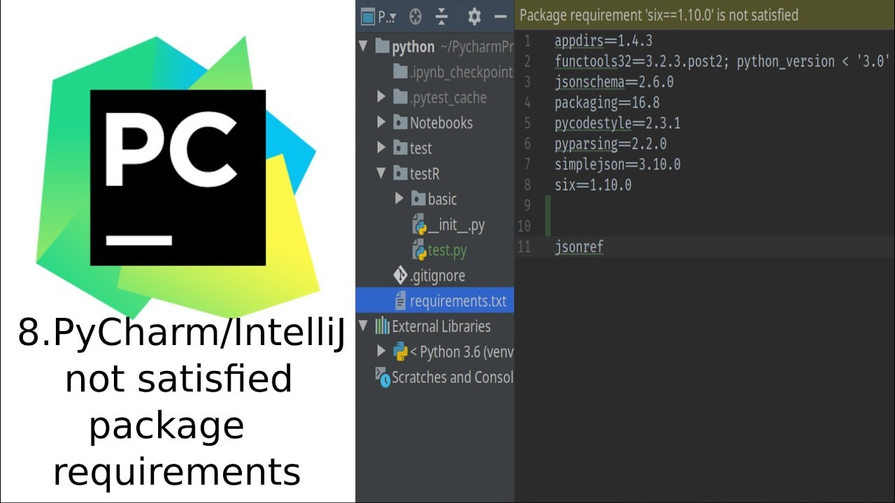 PyCharm package requirements not satisfied (requirement already satisfied)