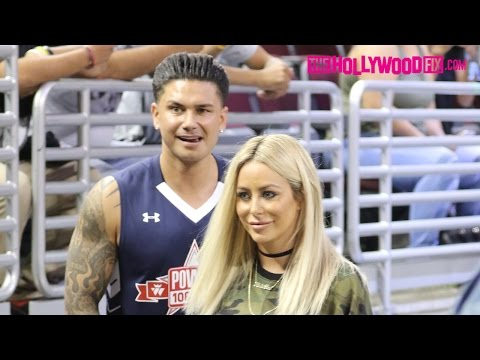 DJ Pauly D & Aubrey O'Day Arrive To The Power 106 Basketball Game At USC 9.11.16