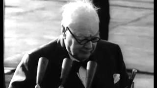 Ike entertains Winston Churchill who speaks of USA as Mother Country 1959