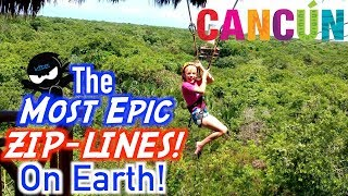 Most EPIC Zip-Lines on Earth! Ninja Kids in Cancun