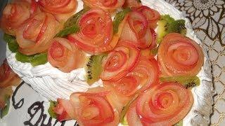 Украшение блюд. Розы из яблок.