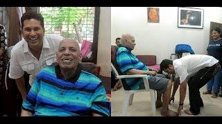 Sachin Tendulkar greets Ramakant Achrekar on Guru Purnima