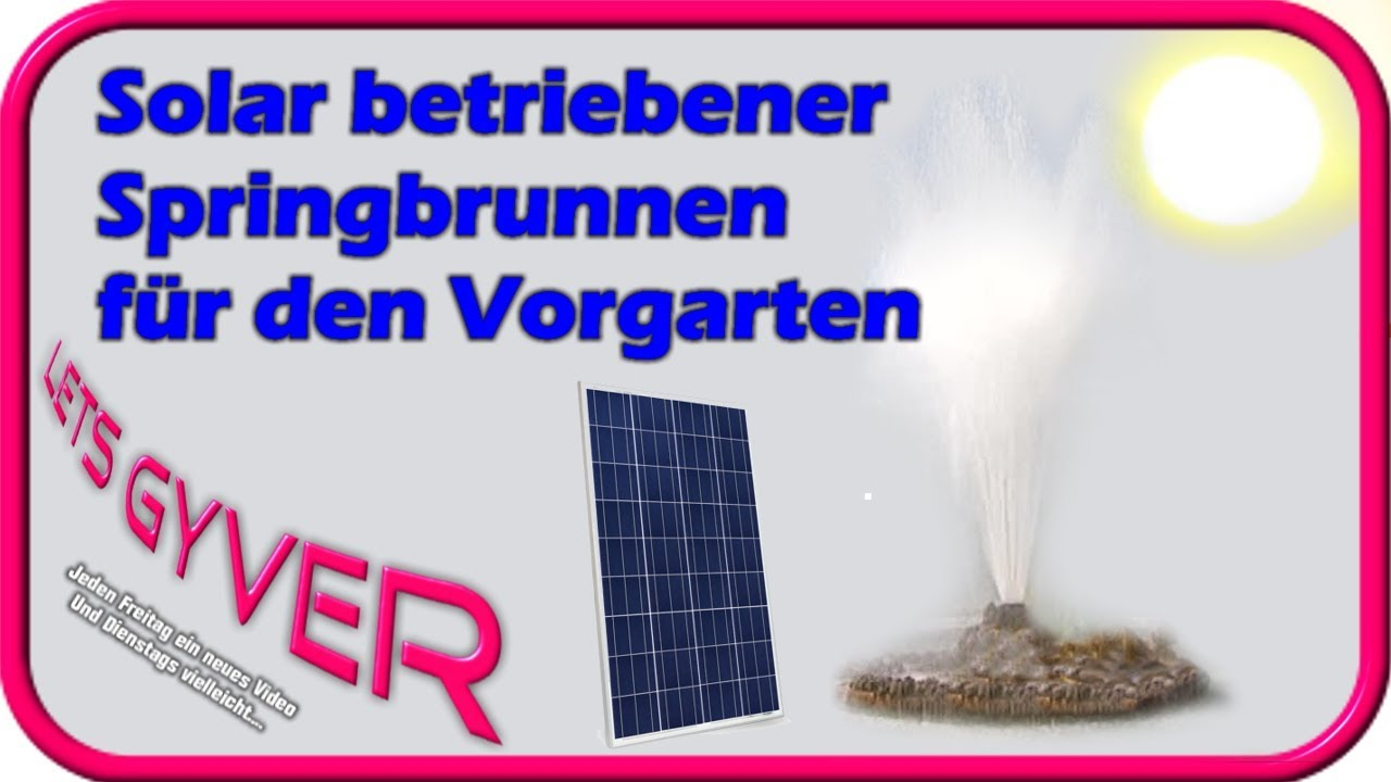 solarbetriebener springbrunnen f r den vorgarten youtube. Black Bedroom Furniture Sets. Home Design Ideas