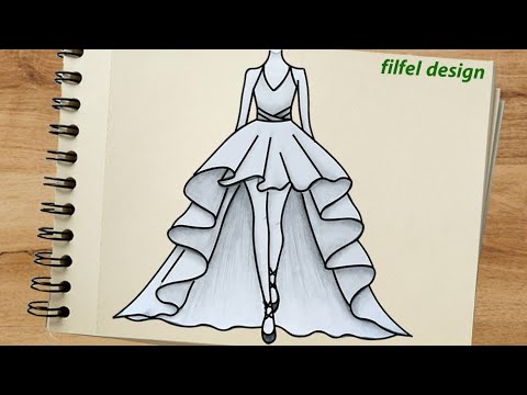 Dress Design How To Draw A Dress Easy Simple Drawing Easy Drawings Drawing Ideas Youtube