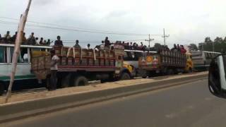 Traffic jam at the Dhaka Tangail highway