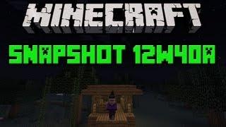 Minecraft: Snapshot 12w40a - Chatka wiedźmy, pasek szybkiego wybierania i superflat teren!