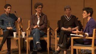 Ann Bannon, Lucy Jane Bledsoe, and Juliana Delgado Lopera at the San Francisco Public Library