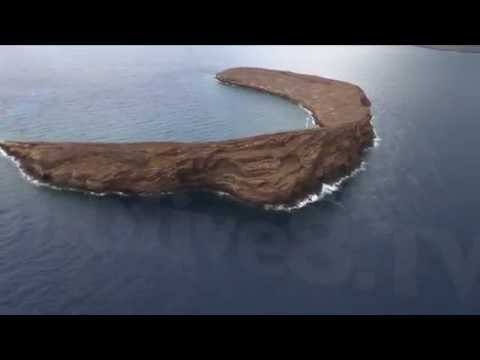 HD Aerial Footage of Molokini Crater - Maui, Hawaii