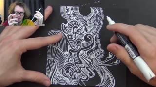 WHITE PEN on BLACK PAPER doodle :)
