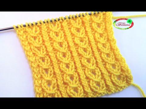 №74 Ажурная вертикальная цепочка  Простой узор спицами Knitting Pattern