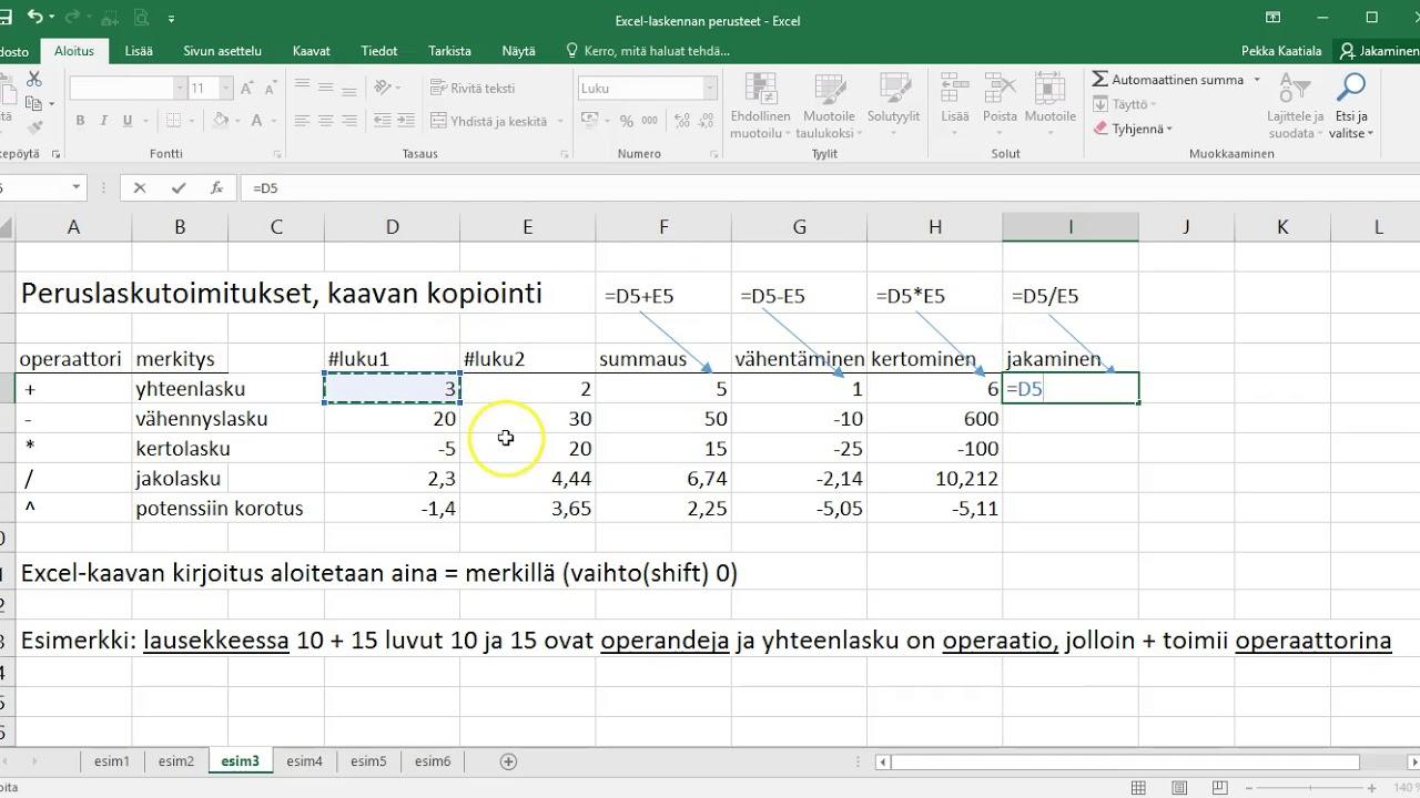 Excel Kaavan Kopiointi