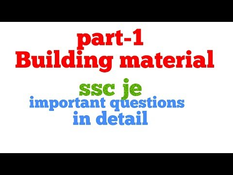 Part -1 Building material ( for ssc je) civil engineering || important  questions