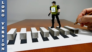 Try to do 3D floating crosswalk for peasants, Trick Art on Paper, Long Version