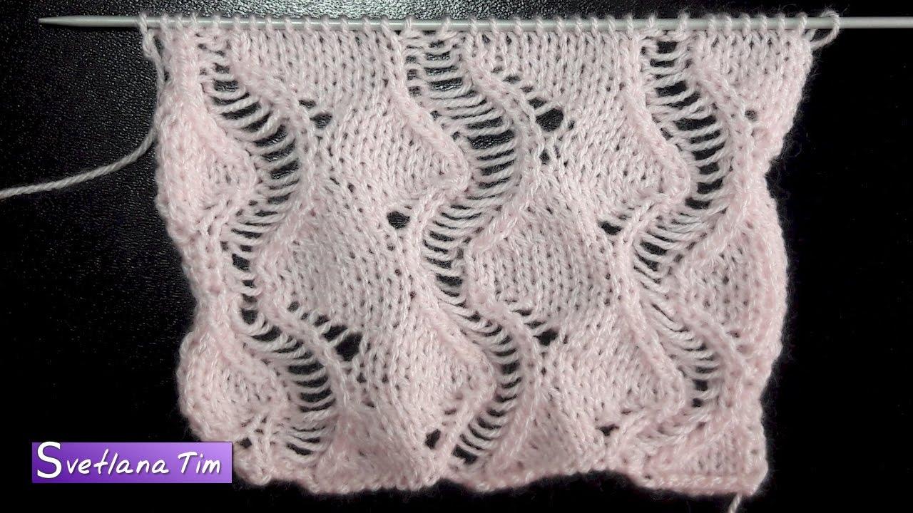 схема узора рельефные вертикальные волны спицами