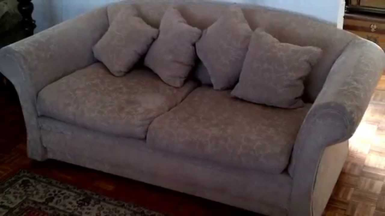 Sofa sillon 3 cuerpos tela crema oscuro youtube for Sofa 3 cuerpos salerno