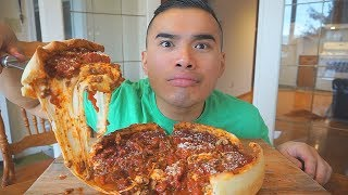 Chicago Deep Dish Pizza | 2nd ATTEMPT | Recipe | MUKBANG