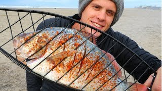 Catch n' Roast SPICY Surf Perch Over a Fire!