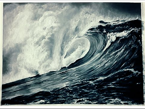 charcoal-drawing-timelapse---ocean-wave