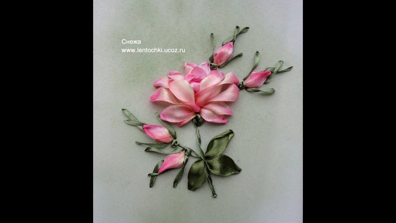 Вышивка ленточкой розы