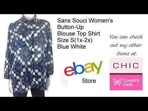 Sans Souci Women's Button Up Blouse Top Shirt Size S1x 2x Blue White