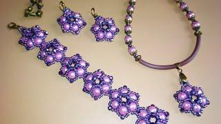 A set of jewelry. Комплект украшений. МК цветочка