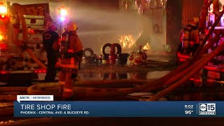 Tire shop goes up in flames in south Phoenix