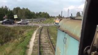 На тепловозе ТГМ4-2701 с вагонами, агрохимия, переезд ст.Чехов