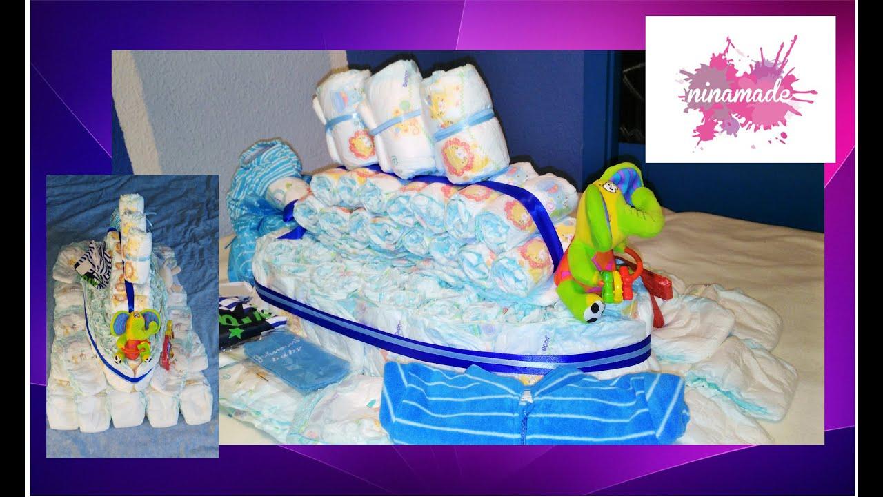Diy como hacer un barco con pa ales idea regalo para beb how to make a boat with diapers - Regalo bebe 3 meses ...