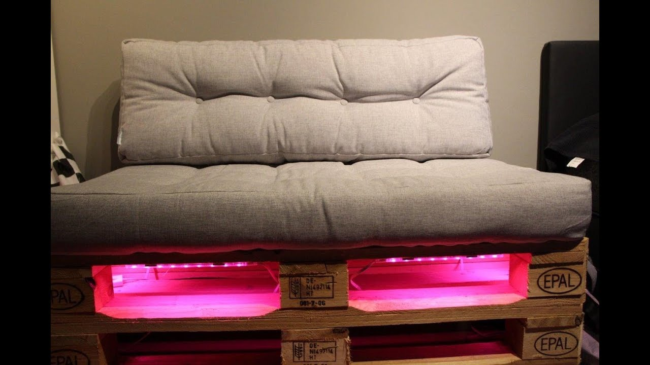 palettensofa selber bauen mit led beleuchtung - newwonder555 - youtube