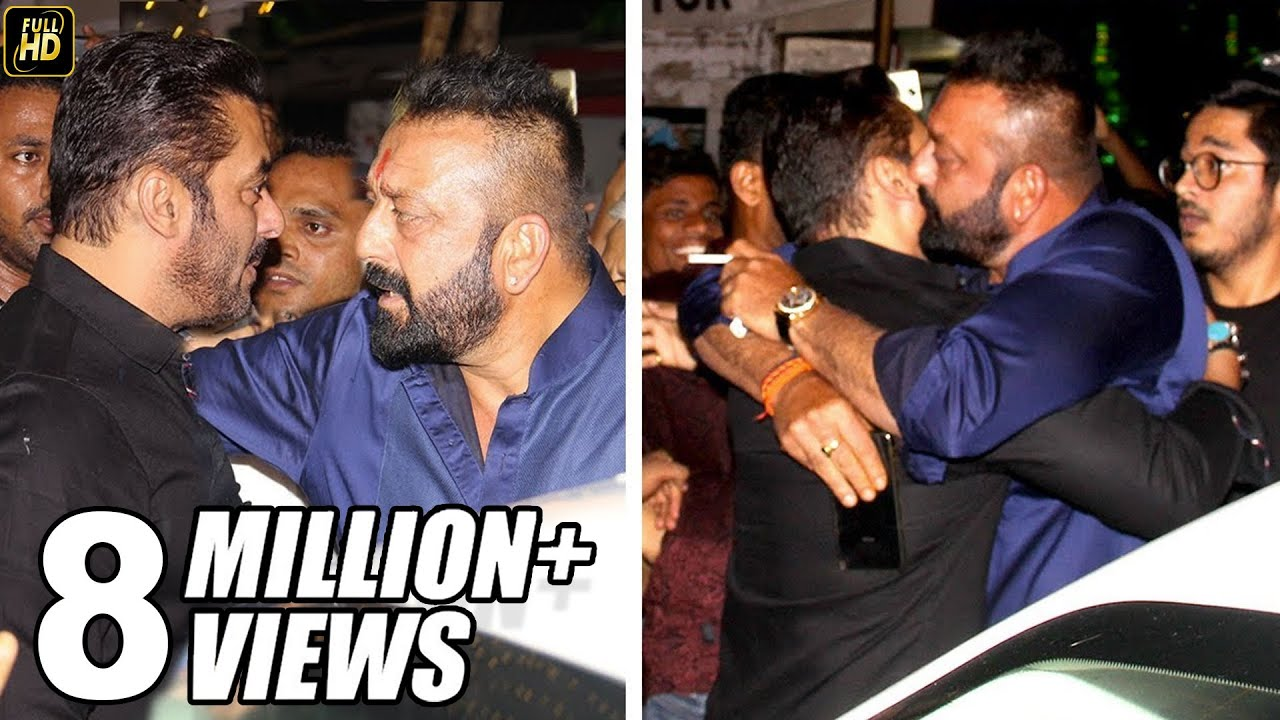 Sanjay Dutt HUGS Salman Khan To End FIGHT At Ambani s House Ganpati     Sanjay Dutt HUGS Salman Khan To End FIGHT At Ambani s House Ganpati 2017  Celebrations