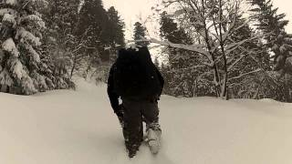 BESE jump approach with Small Foot - inflatable snowshoes. Thumbnail