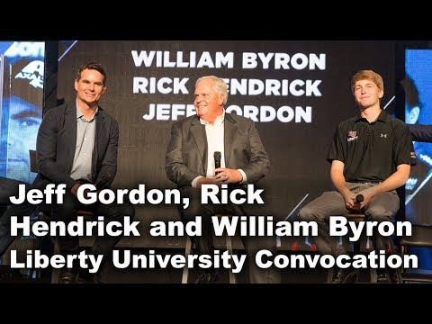 Jeff Gordon, Rick Hendrick and William Byron - Liberty University Convocation 2017