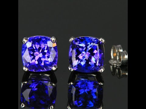 1031ba7e53c141 14K White Gold Square Cushion Tanzanite Stud Earrings 4.33 Carats ...