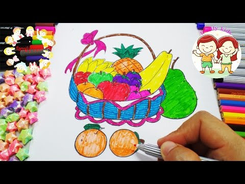 สอนระบายสีผลไม้ | Coloring Fruits | Teach kids Coloring | learn colours