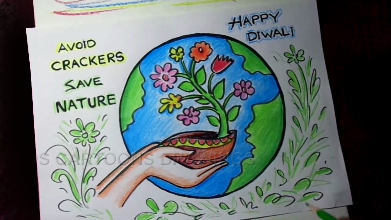 How to Draw AVOID CRACKERS / HAPPY DIWALI / SAVE NATURE Poster Drawing for Kids #1