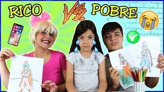 DESAFIO COLORINDO COM 3 CORES na Escola (3MARKER CHALLENGE) PATRICINHA VS POBRES / RICO VS POBRE