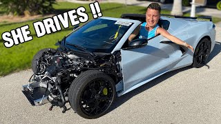 Finally...ROD WAVES Wrecked C8 Corvette DRIVES!!!