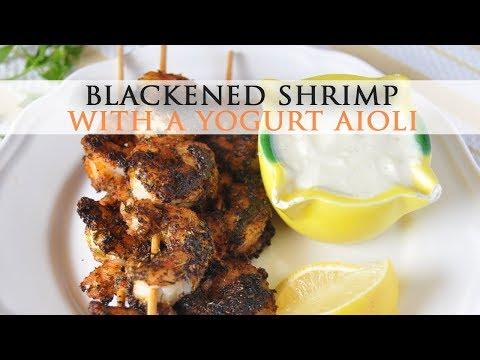Blackened Shrimp Skewers with Yogurt Aioli