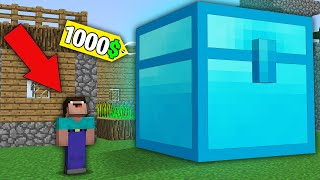 Minecraft NOOB vs PRO:NOOB BOUGHT VERY LARGE DIAMOND CHEST FOR 1000$! Challenge 100% trolling