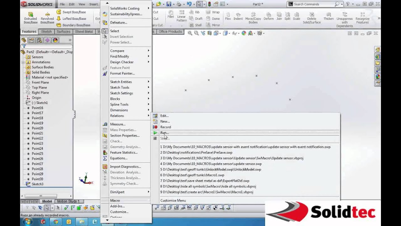 how to find a point in solidworks