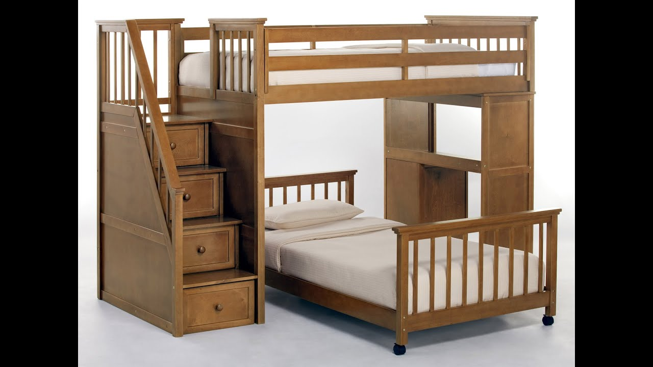 bunk awesome top ladder beds wood and with shaped saving wooden l features bed desk space