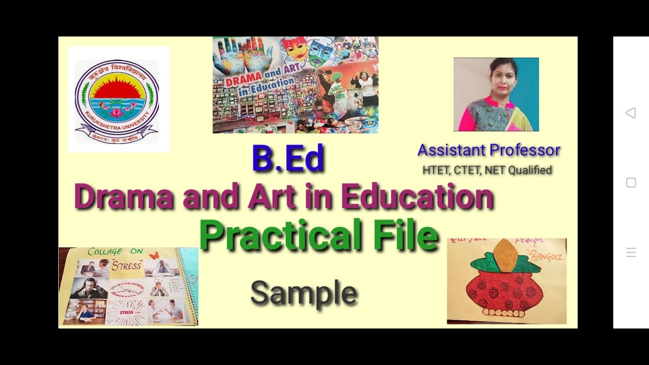 Drama and Art in Education B.Ed file Sample in hindi & english