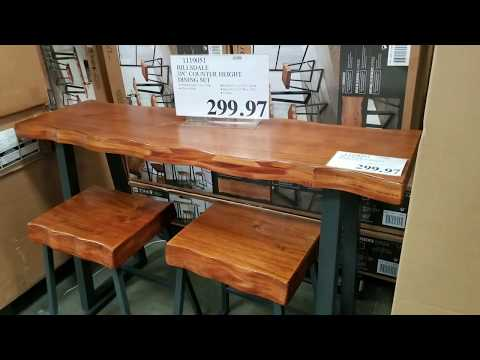 """Costco! Hillsdale 3pc """"Live Wood Edge"""" Counter Height Dining Set! $299!!!"""