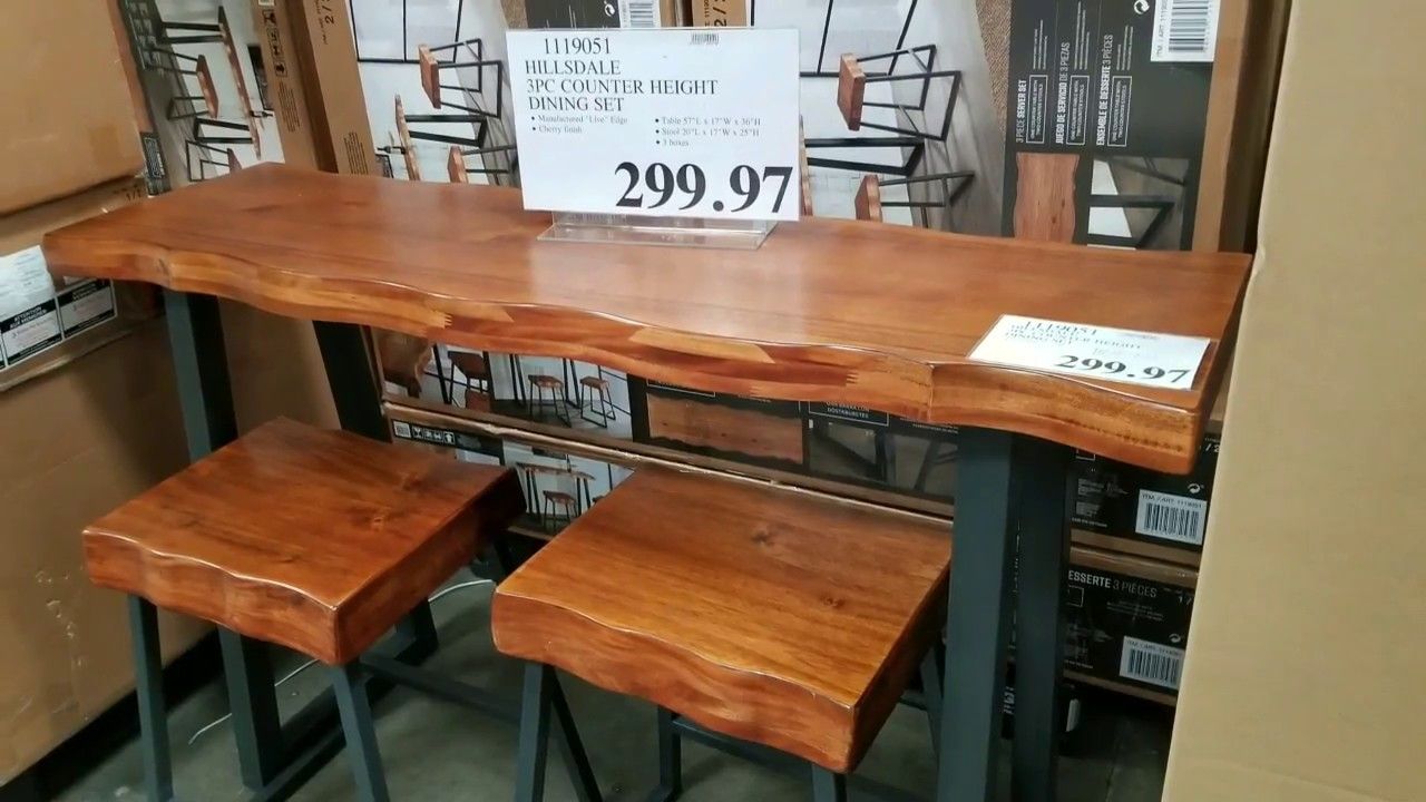 Costco Hillsdale 3pc Quot Live Wood Edge Quot Counter Height