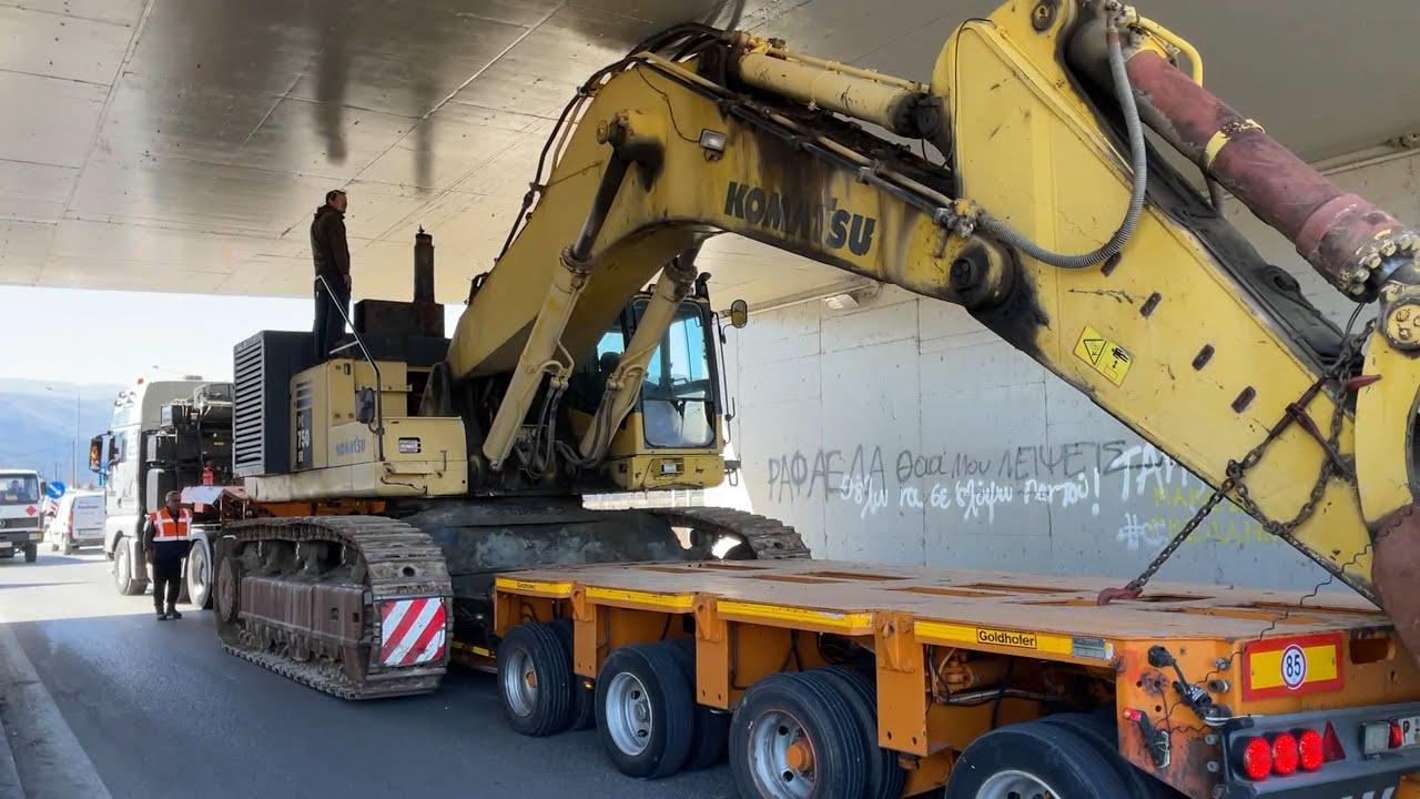 Transporting The Komatsu PC750 Excavator In The Mountains - Fasoulas Heavy Transports